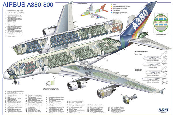 Airbus A380-800 Cutaway Poster