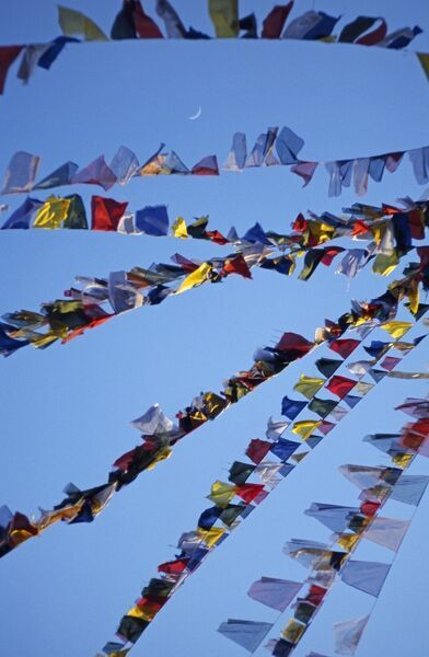 Buddhist prayer flags, Swayambhunath Stupa, the Monkey Temple