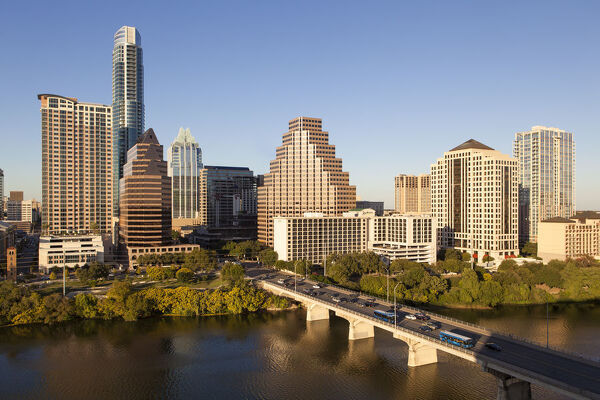 City skyline viewed across the Colorado river, Austin, Texas, USA