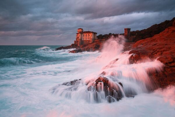 Europe, Italy, Tuscany, Livorno district,   Boccale castle at sunset