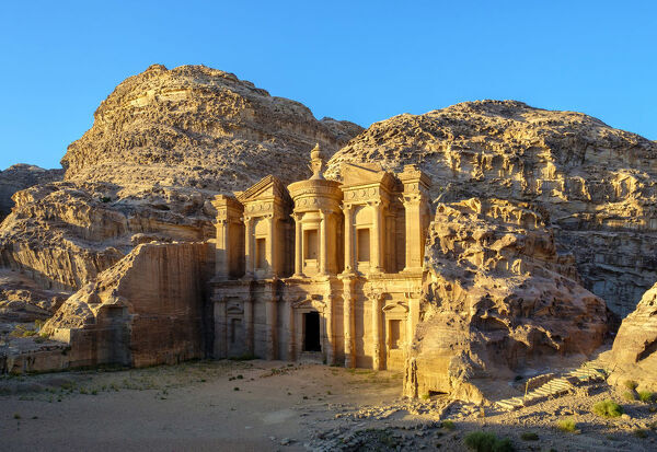 Jordan, Ma'an Governorate, Petra. UNESCO World Heritage Site. Ad-Deir, the Monastery carved into sandstone cliff face