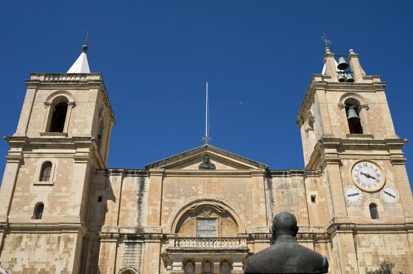 Malta, Valletta. The facade of St John's Co-Cathedral in the centre of the walled city of Valletta