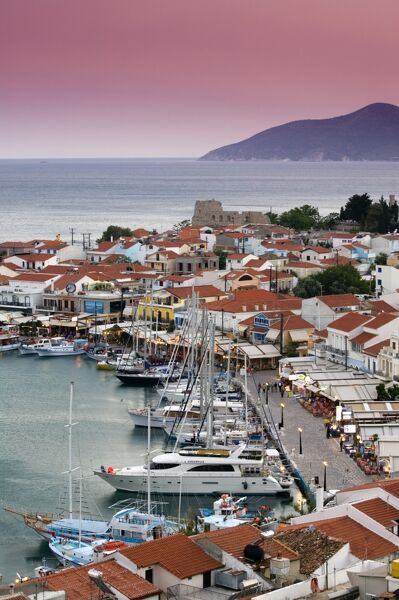 Pythagorio, Samos Island, Greece GREECE-Northeastern Aegean Islands-SAMOS-Pythagorio: Harbor View / Evening