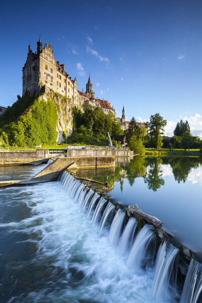 Sigmaringen Castle reflected in the river Danube, Swabia, Baden Wurttemberg, Germany, Europe