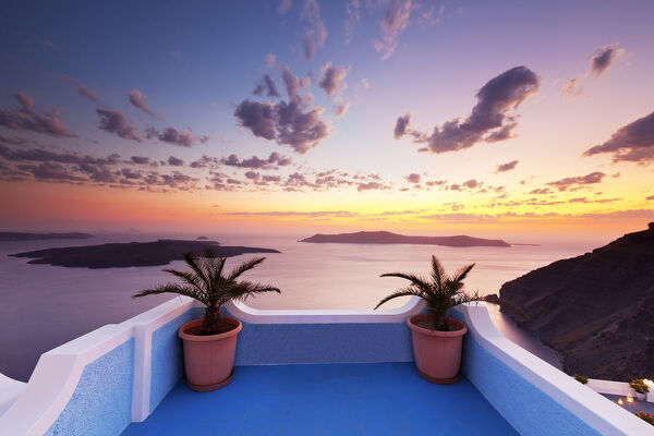 Sunset over Caldera, Fira, Santorini, Cyclade Islands, Greece