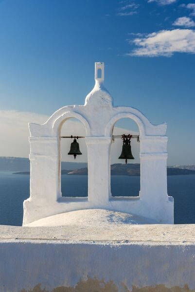 Traditional white belfry, Oia, Santorini, South Aegean, Greece