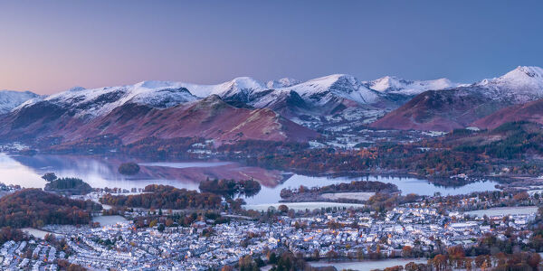 UK, England, Cumbria, Lake District, overlooking Keswick and Derwentwater from Latrigg