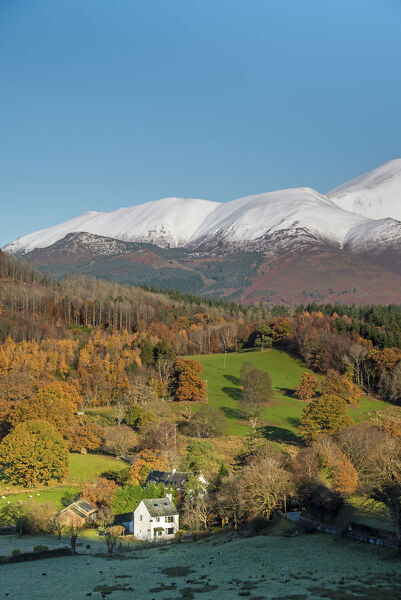 UK, England, Cumbria, Lake District, Skiddaw Mountain above cottage