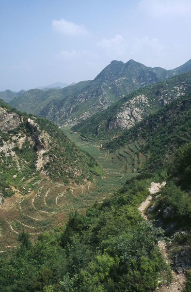 20069459. CHINA Hebei Beijing Valley with agricultural terracing