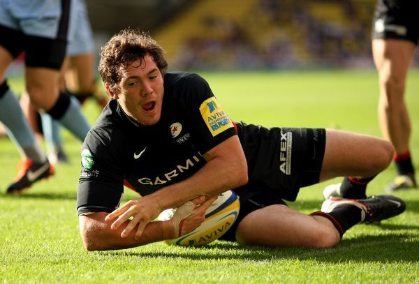 Saracens' Alex Goode scores a try for his side