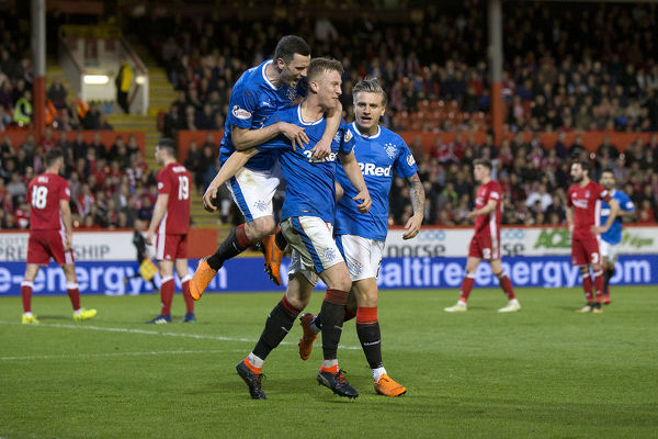 Rangers' Ross McCrorie celebrates his goal during the Ladbrokes Premiership match at Pittodrie Stadium, Aberdeen