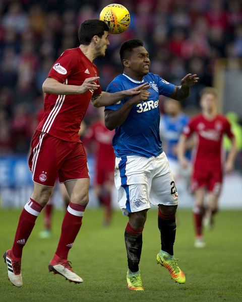 Rangers' Alfredo Morelos jumps for the ball during the Ladbrokes Premiership match at Pittodrie Stadium, Aberdeen