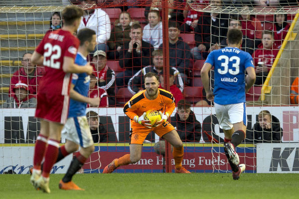 Rangers goalkeeper Jak Alnwick during the Ladbrokes Premiership match at Pittodrie Stadium, Aberdeen