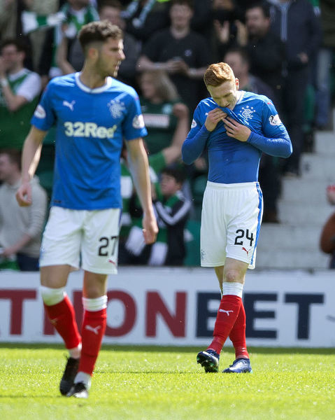 Rangers' David Bates dejected after he gave away a penalty during the Ladbrokes Premiership match at Easter Road, Edinburgh