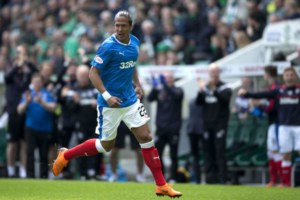 Rangers' Bruno Alves celebrates his goal during the Ladbrokes Premiership match at Easter Road, Edinburgh
