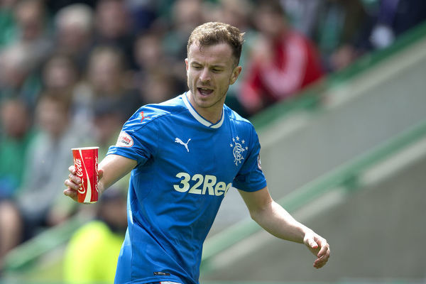 Rangers' Andy Halliday was hit with a coca-cola cup during the Ladbrokes Premiership match at Easter Road, Edinburgh