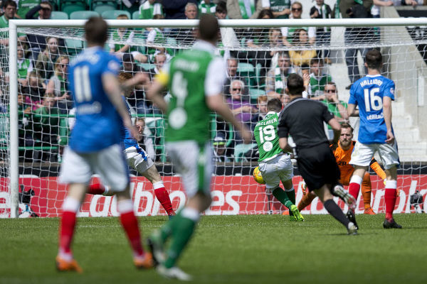 Hibernian's Jamie MacLaren scores his side's fourth goal during the Ladbrokes Premiership match at Easter Road, Edinburgh
