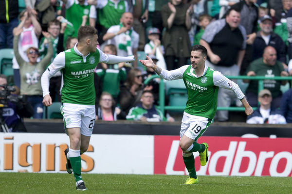 Hibernian's Jamie MacLaren celebrates his second goal during the Ladbrokes Premiership match at Easter Road, Edinburgh