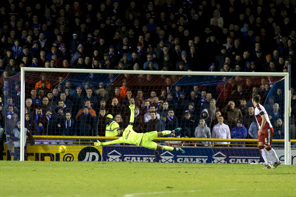 Rangers goal keeper Wes Foderingham watches the ball fly past him into the net from Inverness' Greg Tansey during the Ladbrokes Premiership match at the Tulloch Caledonian Stadium, Inverness