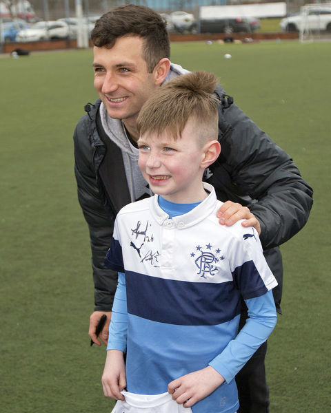 Rangers players Jason Holt & Jason Cummings attend the Easter Soccer Schools at the Ibrox Complex, Glasgow
