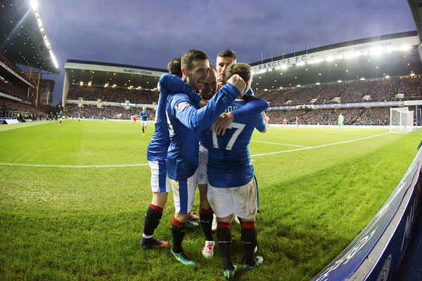 Rangers' Kenny Miller celebrates his goal with his team mates Lee Hodson,Barrie McKay, Michael O'Halloran & Jason Holt during the Ladbrokes Premiership match at Ibrox Stadium, Glasgow