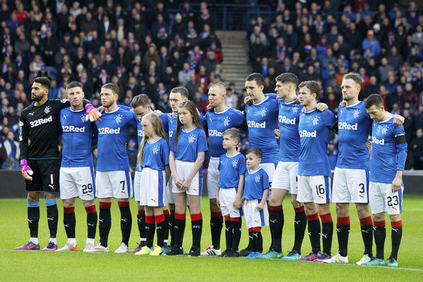 Rangers players, mascots and fans observe a minute silence for former player Davie Provan during the Ladbrokes Premiership match at Ibrox Stadium, Glasgow