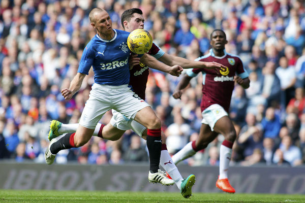 Rangers' Kenny Miller and Burnley's Michael Keane during the friendly match at Ibrox Stadium, Glasgoww
