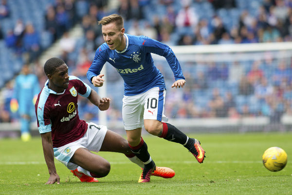 Rangers' Barrie McKay and Burnley's Tendayi Darikwa during the friendly match at Ibrox Stadium, Glasgoww