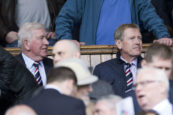 Rangers legend John Greig and Chairman Dave King during the Ladbrokes Premiership match at Ibrox Stadium, Glasgow