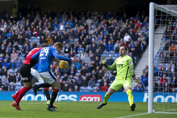 Rangers' David Bates scores during the Ladbrokes Premiership match at Ibrox Stadium, Glasgow