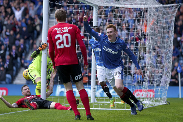 Rangers defender David Bates celebrates his goal during the Ladbrokes Premiership match at Ibrox Stadium, Glasgow