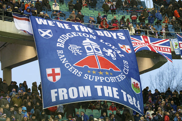 Rangers fans during the friendly match at the Red Bull Arena in Leipzig, Germany