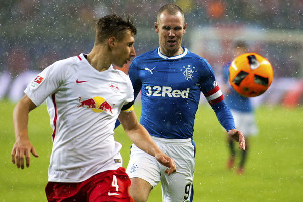 Rangers' Kenny Miller chases down Leipzig's Willi Orban during the friendly match at the Red Bull Arena in Leipzig, Germany