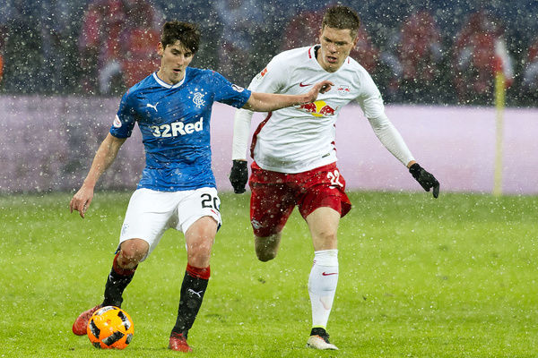 Rangers' Emerson Hyndman (left) in action during the friendly match at the Red Bull Arena in Leipzig, Germany