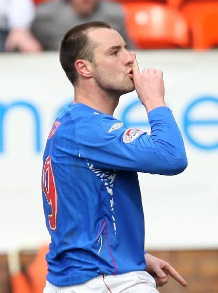 Kris Boyd, Rangers celebrates the third goal for Rangers