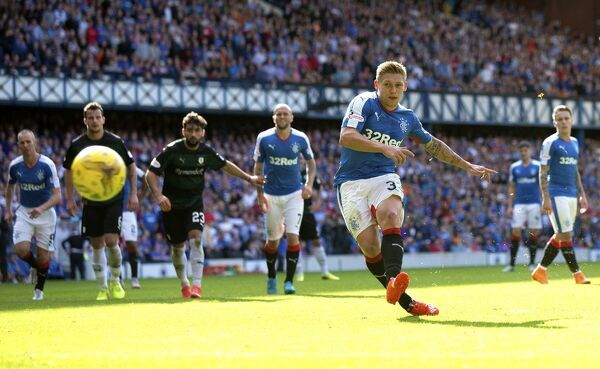 Rangers' Martyn Waghorn scores his second penalty during the Ladbrokes Championship match at Ibrox Stadium, Glasgow