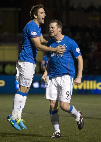 Rangers' Jon Daly (9) celebrates his goal with team mate Andy Little
