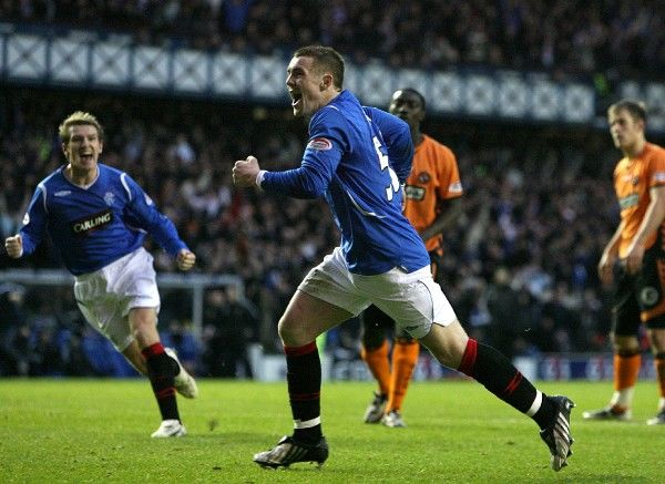 Rangers' John Fleck celebrates scoring his sides first goal of the game from the penalty spot