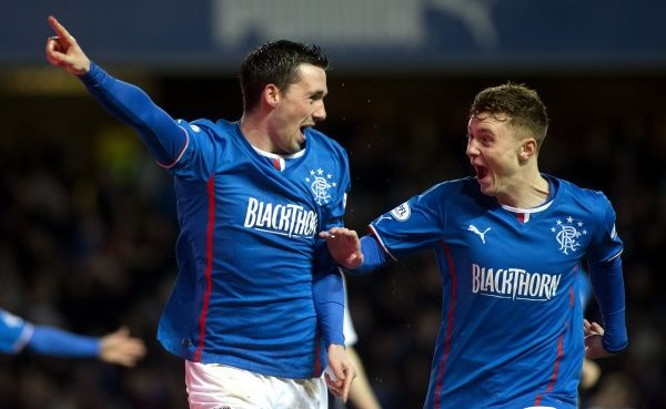 Rangers' Nicky Clark celebrates his first goal