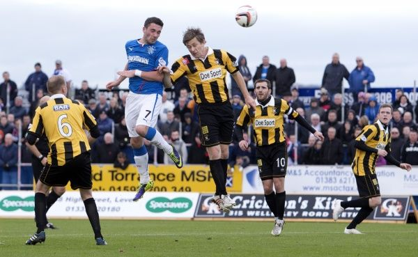 Rangers' Nicky Clark gets a header in at goal agaisnt East Fife during the Scottish League One match at Bayview Stadium