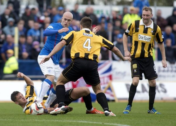 Rangers' Nicky Law battles for the ball against East Fife during the Scottish League One match at Bayview Stadium