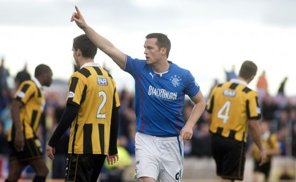 Rangers' Jon Daly celebrates his first goal against East Fife during the Scottish League One match at Bayview Stadium