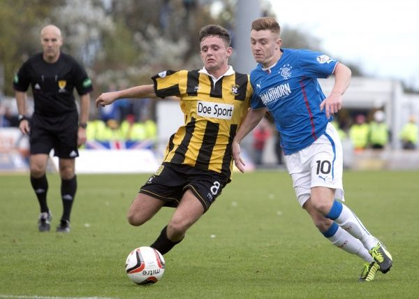 Rangers' Lewis Macleod and East Fife's Ross Brown during the Scottish League One match at Bayview Stadium