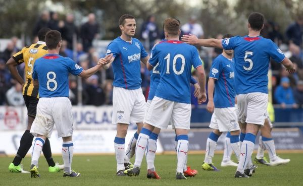 Rangers' Jon Daly celebrates his third goal to complete his hat-trick against East Fife during the Scottish League One match at Bayview Stadium