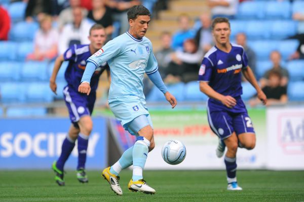 Coventry City's Cody McDonald in action during the npower Football League Championship match at the Ricoh Arena, Coventry