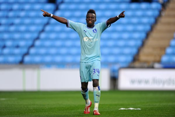 Coventry City's Gael Bigirmana celebrates victory at the final whistle