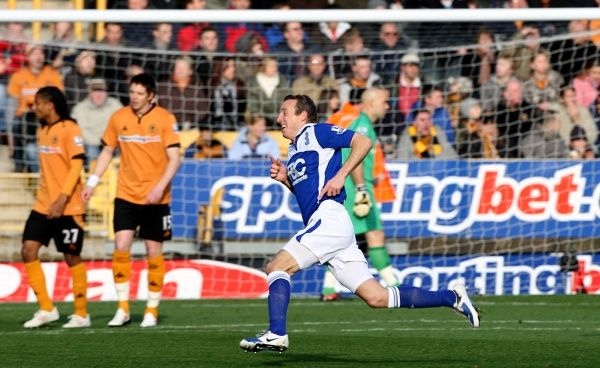 Birmingham City's Lee Bowyer celebrates scoring the games opening goal