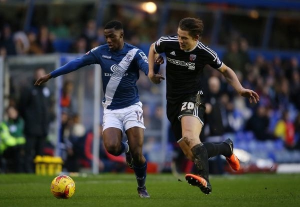 Birmingham City's Viv Solomon-Otabor and Brentford's James Tarkowski