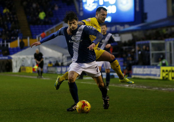 Birmingham City's Diego Fabrini (front) and Sheffield Wednesday's Ross Wallace in action