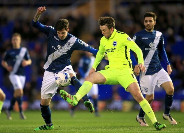 Brighton and Hove Albion's Dale Stephens (right) and Birmingham City's Kyle Lafferty battle for the ball during the Sky Bet Championship match at St Andrews, Birmingham